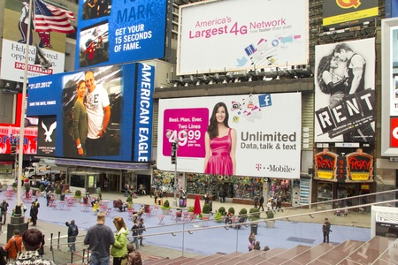 Times Square, New York City, United States of America - View from Times Square platform with tourists, neon and display advertising Stock Photo - 11314417
