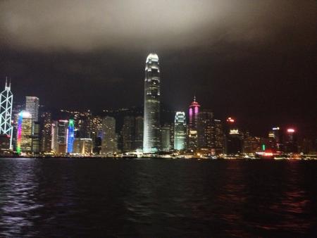 nightshot of Hong Kong city scape