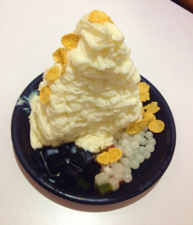 Durian flavored shaves ice dessert from Hong Kong