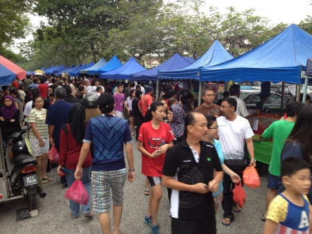 A ramadhan bazaar set up during the month when Muslims fast Stock Photo