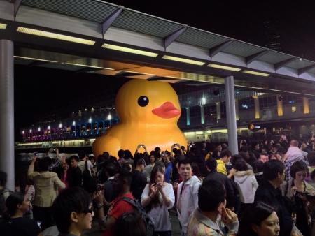 Crowd of Hong Kong citizens admire the 54 foot yellow rubber duck by Florentijn Hofman