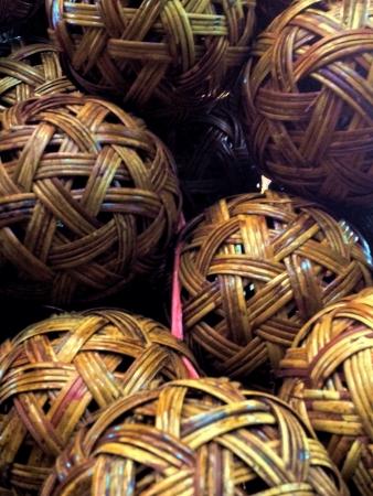 woven: Rattan takraw balls souvenirs at Jatujak Market Thailand.