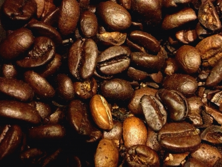 Background of a heap of coffee beans