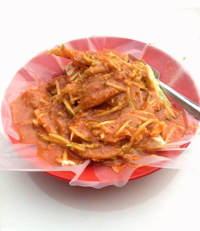 A plate of Indian RojakPasembur a Malaysian favorite dish with spicy peanut sauce