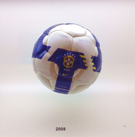 Sao Paulo, Brazil - an ancient football used in previous World Cups on display at the Museu do Futebol