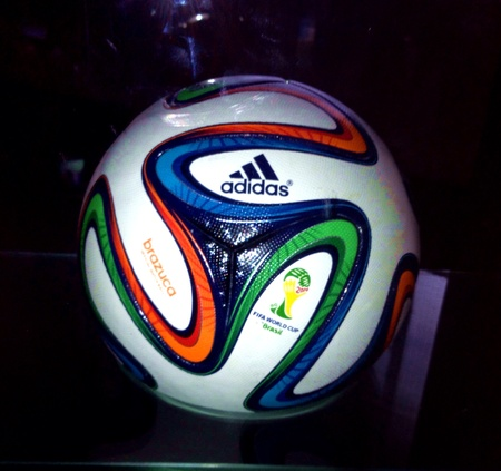 Sao Paulo, Brazil - Brazuca the football that will be used in the 2014 World Cup on display at the Museu do Futebol