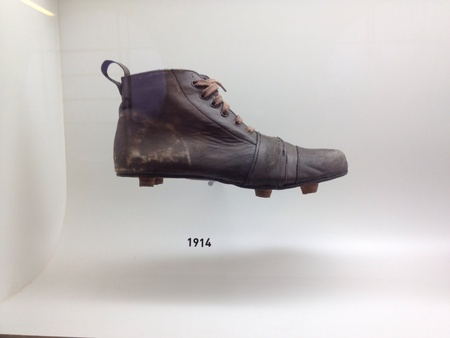 Sao Paulo, Brazil - Old football boots that were used by the Brazilian team in previous World Cups on display at the Museu do Futebol Stock Photo