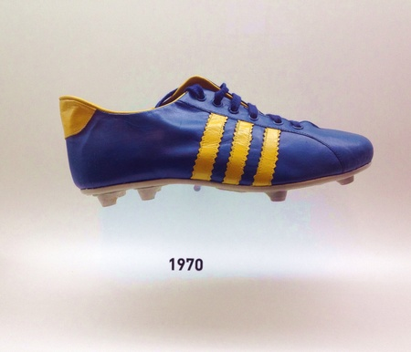 soccer cleats: Sao Paulo, Brazil - Old football boots that were used by the Brazilian team in previous World Cups on display at the Museu do Futebol Stock Photo