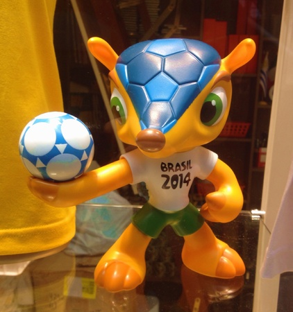 February 2014 - Fuleco the FIFA World Cup Mascot on display at a Souvenir Shop in Sao Paulo, Brazil