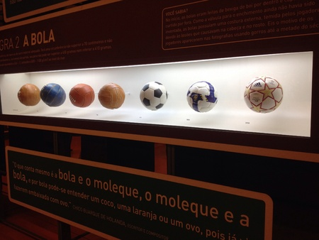 February 2014 - A Display that shows the evolution of footballs in Sao Paulo s Football Museum