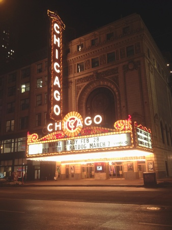 February 2014 - the Chicago theatre an iconic landmark for the city of Chicago, Illinois USA Stock Photo