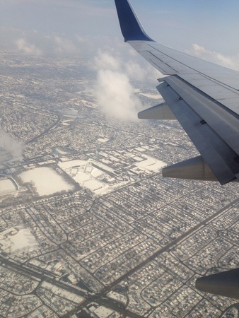 February 2014 - harsh cold weather conditions over New York, USA contributed to numerous flight delays and cancellations Stock Photo