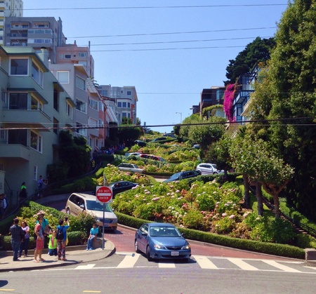Lombard Street, San Francisco, California a major tourist attraction