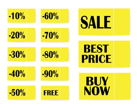 yellow sale stickers