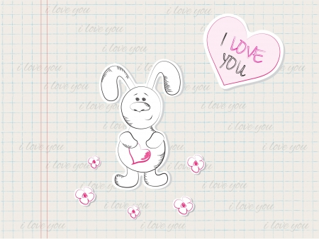 illustration of rabbit and heart Vector