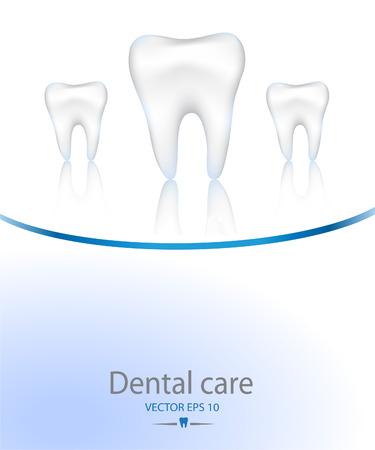 Diente realista. Dentales colores background.Blue cuidado.