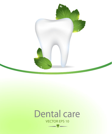 Realistic tooth. Dental care background.Peppermint leafs. Illustration