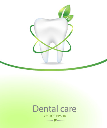 Realistic tooth. Dental care background.Green colours.