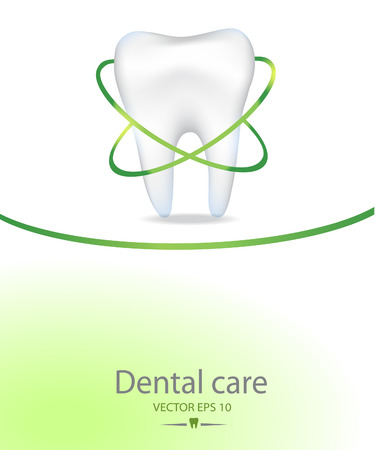 Realistic tooth for Dental care background.