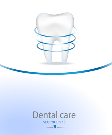identity protection: Realistic tooth for Dental care background.