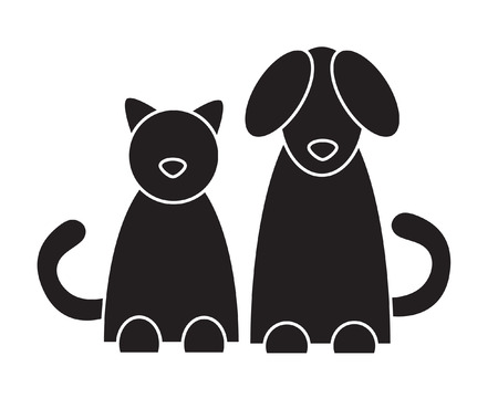 black cat silhouette: Cat and dog. Vector illustration.