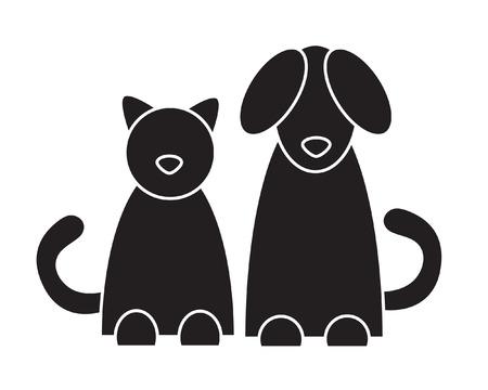 silueta gato negro: El gato y el perro. Ilustración del vector.