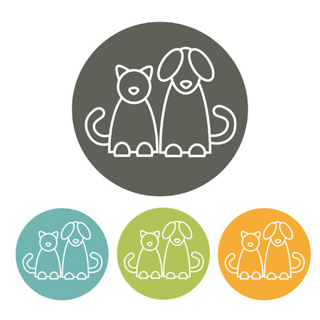 black and white image drawing: Cat and dog. Infographics element. EPS 10 file.