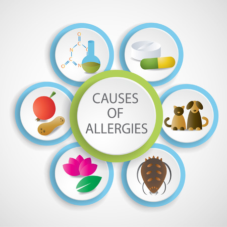 Causes of allergies.  Vector