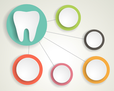 Tooth and circles infographics background. Vector