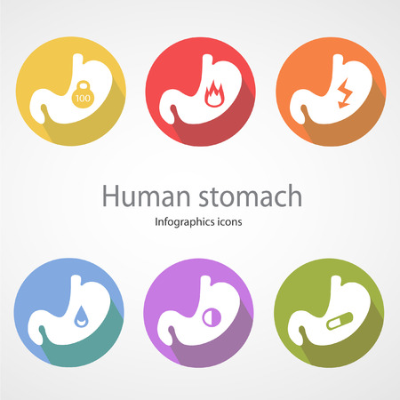 ulcer: Human stomach. Infographics icons.EPS 10 file