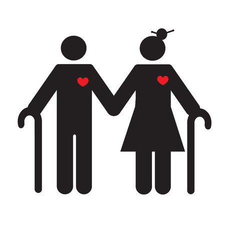 geriatric: Silhouette of an old couple. Healthy heart. EPS 10 vector file.