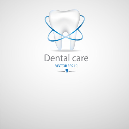 identity protection: Realistic tooth. Dental care background.Blue colours.