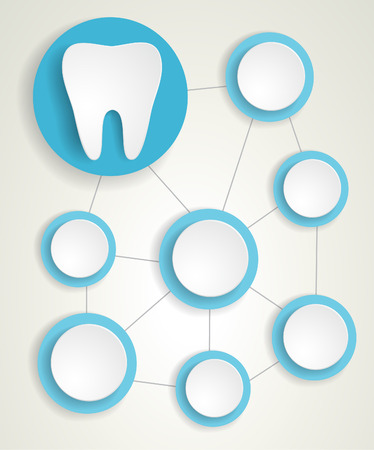 Tooth and circles infographic background.Blue colours.EPS 10 vector file.