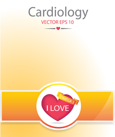 Heart with omega 3 banner. Medical background.EPS 10 vector file.