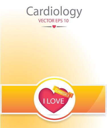 Heart with omega 3 banner. Medical background.EPS 10 vector file.