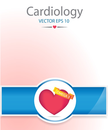 omega 3: Heart with omega 3 banner. Medical background.EPS 10 vector file.
