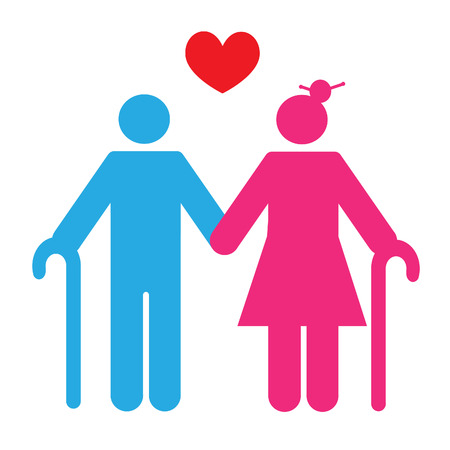 Silhouette of an old couple. Love. EPS 10 vector file.