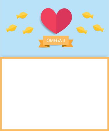 signos vitales: Corazón con omega 3 banner. Antecedentes. Vectores