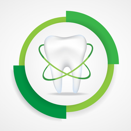 dental plaque: Realistic tooth.Round label.Green colours Illustration