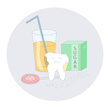 Unhealthy dental care.Cartoon vector image.