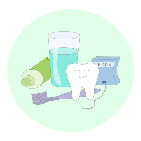 floss: Healthy dental care. Cartoon vector image.