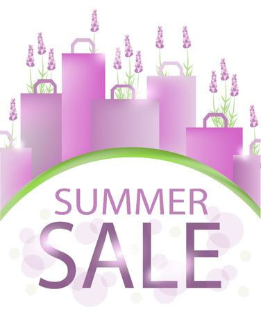 Summer sale design template with shopping bags and lavender. Illustration