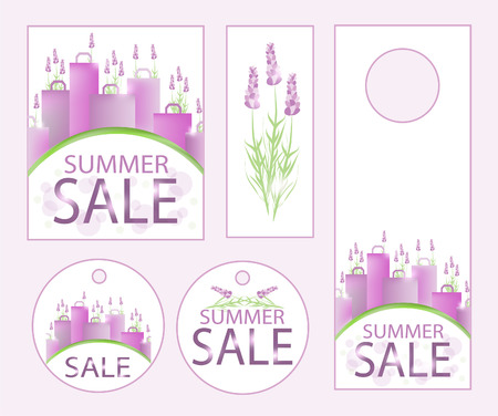 clearance sale: Summer sale design template with shopping bags and lavender. Illustration