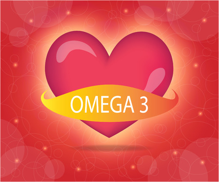 omega: Heart with omega 3 banner.