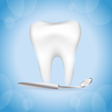 caries dental: Diente realista. Fondo el cuidado dental.
