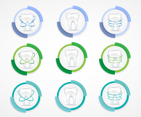 abscess: Dental protecting.Round labels. Illustration
