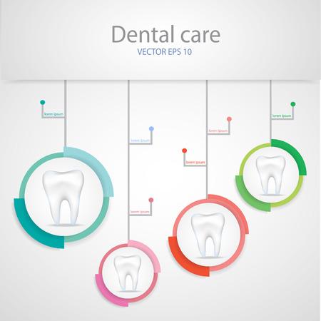 Realistic teeth. Dental care background.
