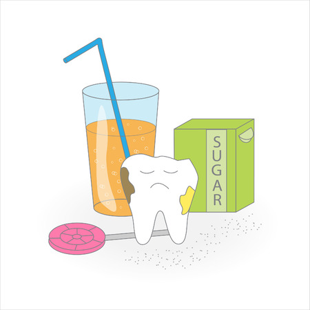 floss: Unhealthy dental care.Cartoon vector image.