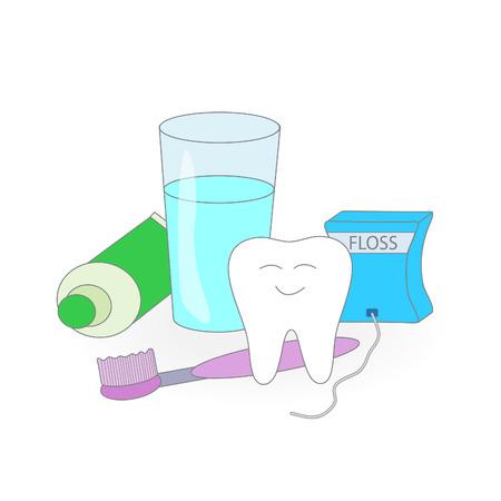 Healthy dental care. Cartoon vector image.