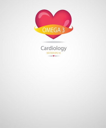 omega 3: Heart with omega 3 banner.Medical background.EPS 10 vector file.